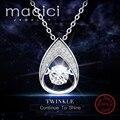 Романтический Стерлингового Серебра 925 Капли Воды Кулон с Подвижный Камень для Прекрасных Женщин Ожерелье Делая DA705