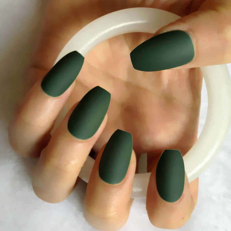 Candy 24pcs New Coffin Matte Fake Nails Long Round soft Frosted Press On Nails Coloured Emerald Green False Nails