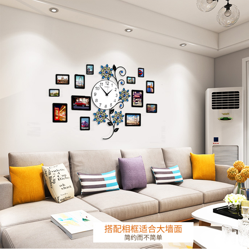 Flower Crystal Wall Clocks Modern Design Peacock 3d Large Clock Wall Watches Kitchen Bedroom Home Decor