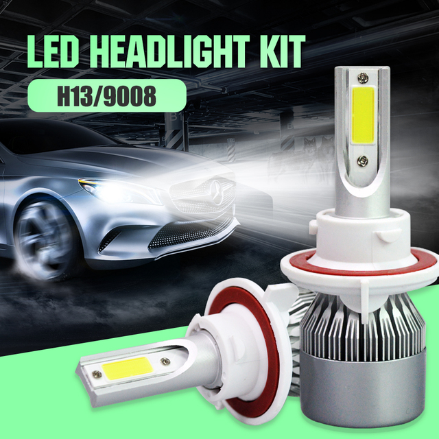 C6 EURS H4 H7 H11 9005 9006 H13 9008 LED Headlight Bulbs 72W 7600LM COB Chips Automible Headlamp Front Lights 6000K 12V