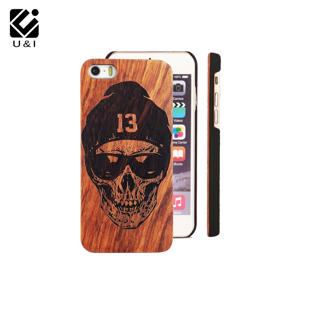 New Skull Custom U&I Real Wood Slice Cell Phone Case Wooden Laser Engrave Cover Capa for iPhone 5 5S 6 6S 6PLUS 7 7PLUS Designer