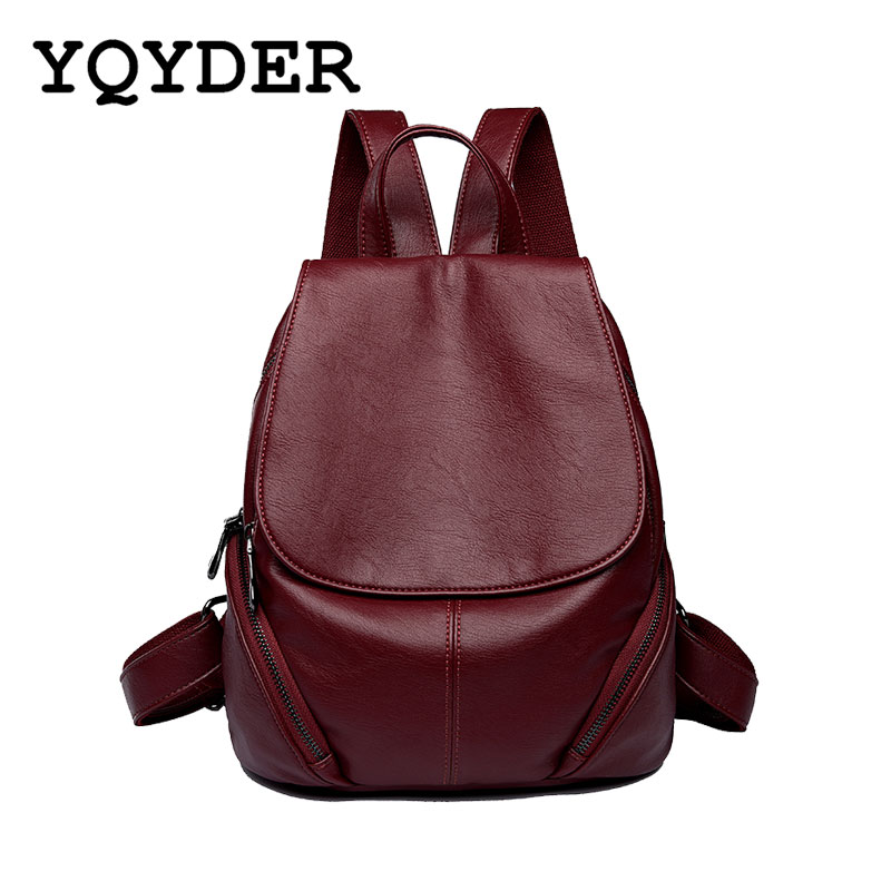 Women Double Zipper Backpack PU Leather School Bags Female Travel Bag Solid Rucksack Shoulder Bags Ladies Bagpack Girl Mochila aelicy luxury pu leather backpack women preppy style school bags women rucksack travel satchel bags mochila feminina women bag