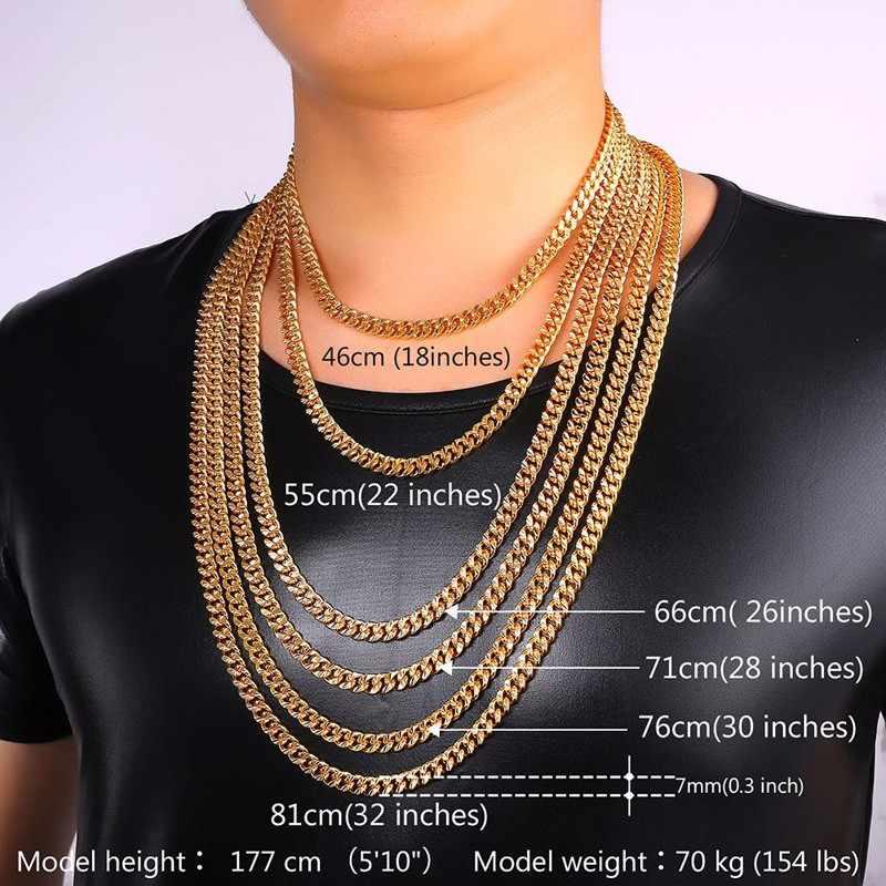 שרשרת קישור קובנית שרשרת לגברים שחור אקדח/רוז זהב/זהב/כסף צבע תכשיטי גברים שרשרת תכשיטי N653