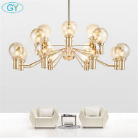 Modern gold chandeliers for living room big luxury 6/8/16 E27 lights milky clear amber glass lampshade hanging lighting fixture
