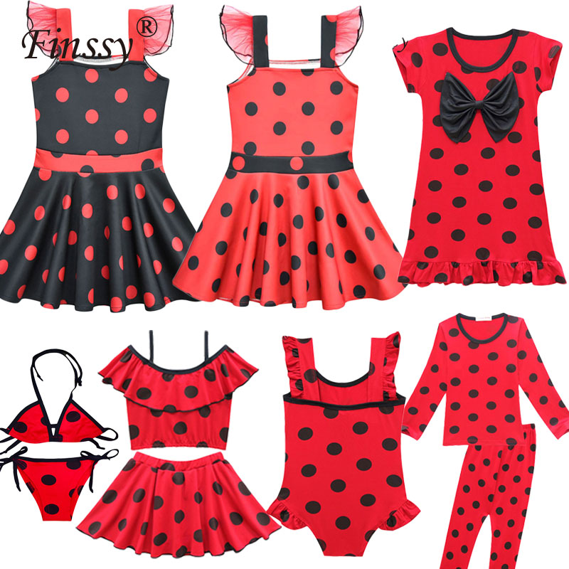 Ladybug Cosplay Costume for Girl Halloween Carnival Party Dress Shorts Clothes Mask Bags Set for Kids