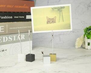 Image 5 - Lot 50 Pcs Memo Clips Cube Draad Houder Logo Custom Bruiloft Plaats Kaarthouder Promotie Gift Personaliseer Giveaway Freebie