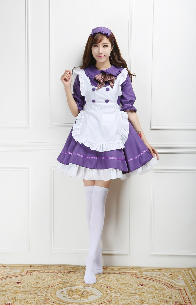 Ensen Halloween Maid anime cosplay Costumes for Womens Lovely lolita purple dress Half Sleevemaid uniform femininas  Fancy dress