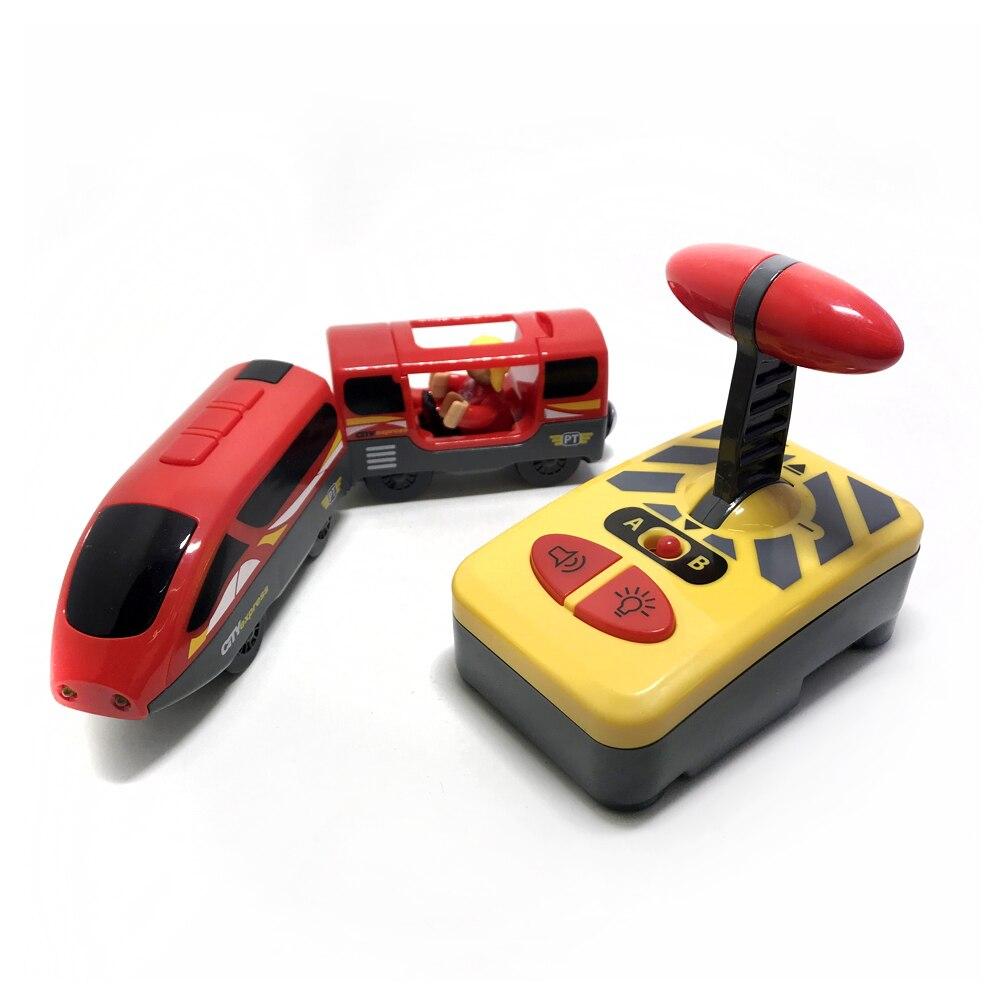 W06 novo trem magnético elétrico de controle remoto compatível com brio trilha de madeira vermelho trem elétrico crianças brinquedo pista