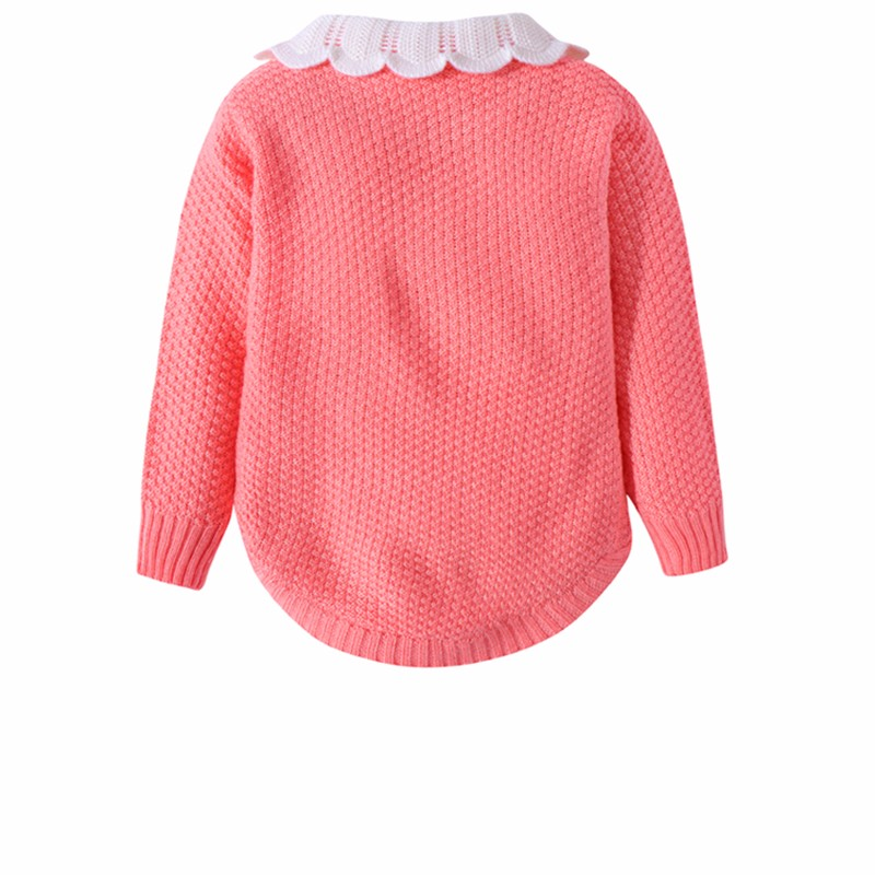 Cotton Girls Sweaters Solid Long Sleeve Clothes Knit Pullover Outerwear With Bows Warm Children Top Autumn Winter Kids Sweater (3)