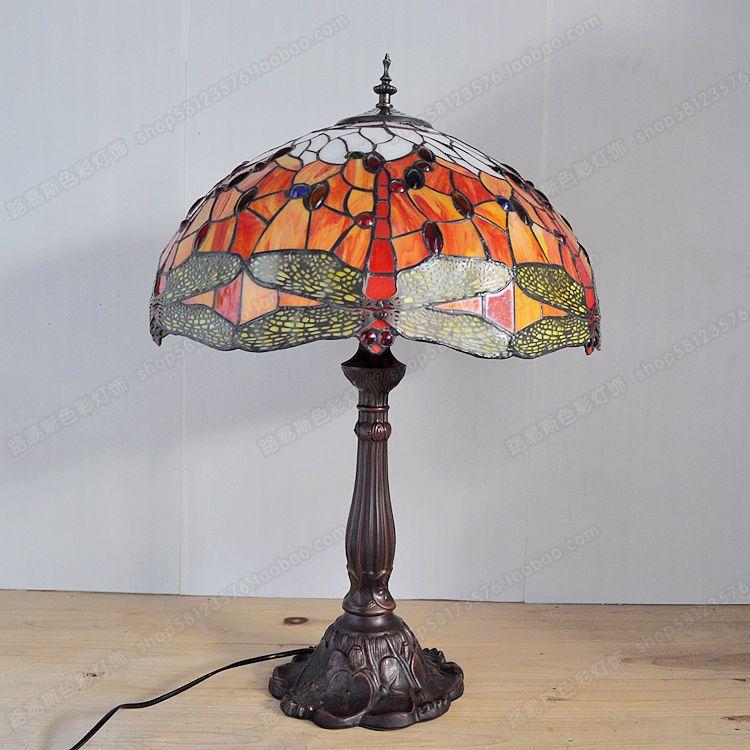 18 polegada red dragonfly sala de estar lâmpada barra tiffany europeia liga fundo iluminação retro nostalgia exportação lâmpadas - 3