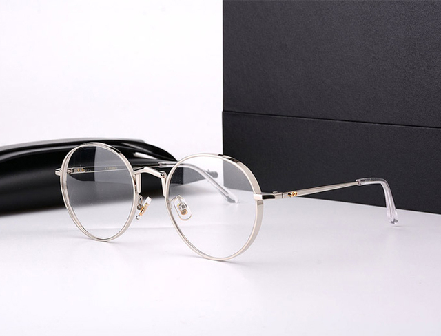 Gentil marca do vintage moldura redonda óculos de prescrição óptica óculos  de armação de titânio GM da26290fb4
