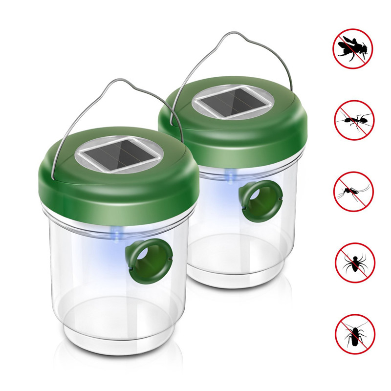New LED Solar Powered Fly Trap Outdoor Plastic Insect Catcher  Insect Mosquito Killer For In Tree Flying Bee Hornet Trap Catcher