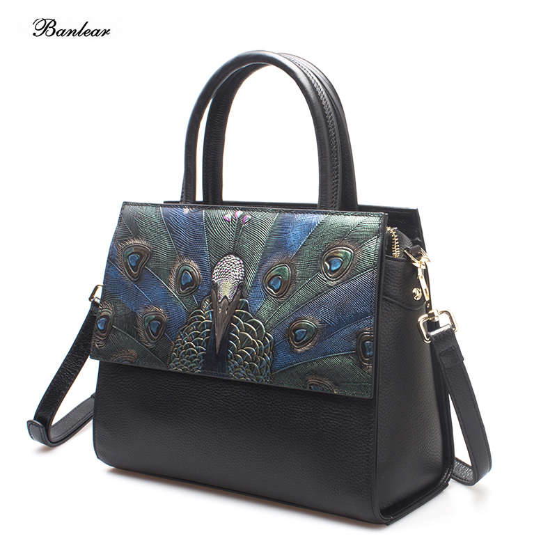 1509fb56d874 Detail Feedback Questions about Brand Banlear Black Color Real Leather  peacock pattern Women s Handbag Cow leather Tote for Lady on Aliexpress.com