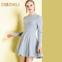 2018 autumn and winter o neck medium long female cashmere pullover sweater one piece dress shirt basic cashmere sweater