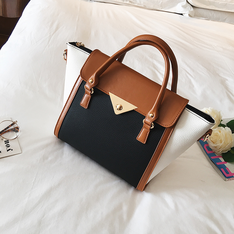 Image 2 - Panelled Women Bag Lock Trapeze Women Totes 2017 Luxury Leather Handbags Designer Famous Brand Women Crossbody Messenger Bags-in Top-Handle Bags from Luggage & Bags