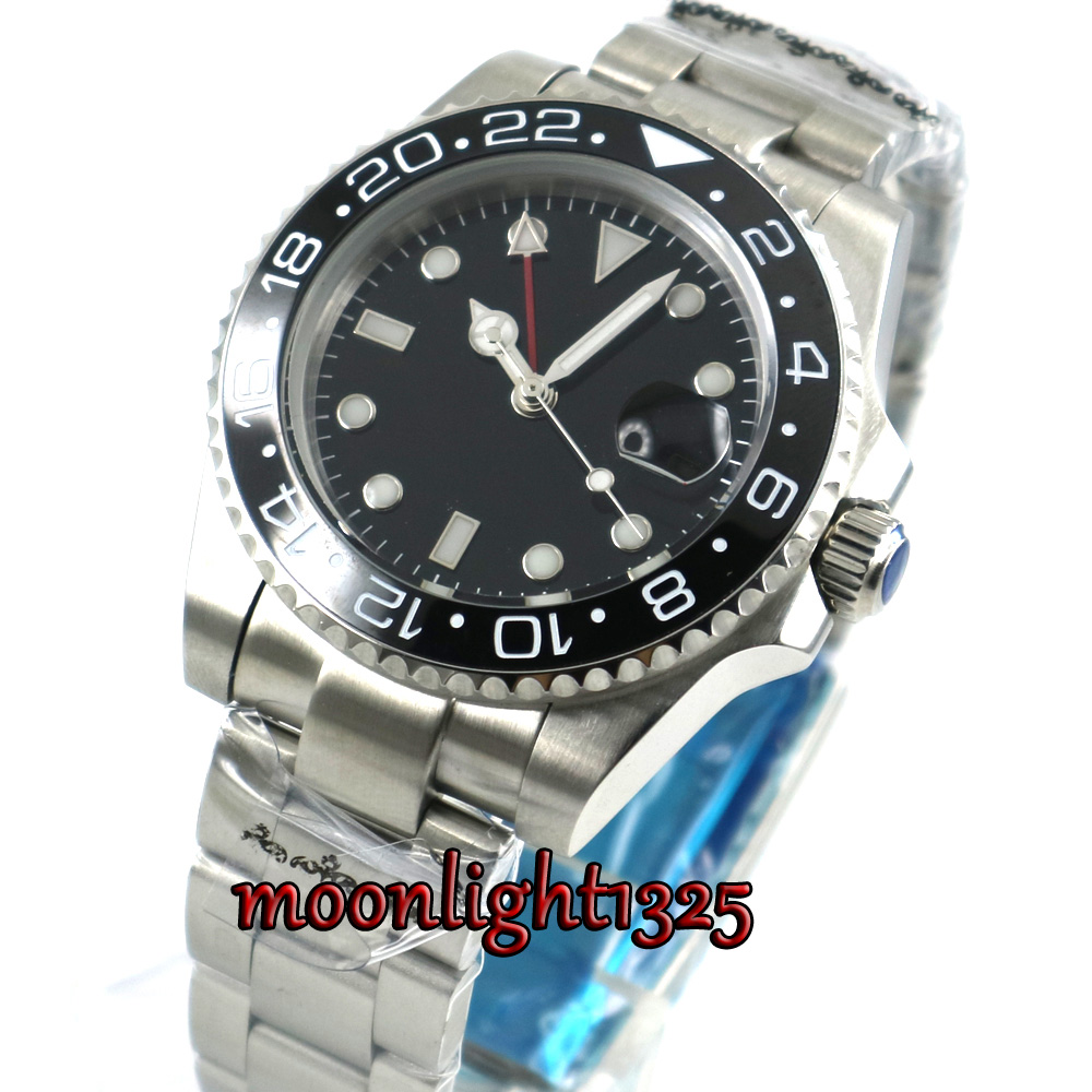 top 40mm parnis black sterile dial sapphire glass GMT black ceramic Bezel date window automatic mens watch цена и фото