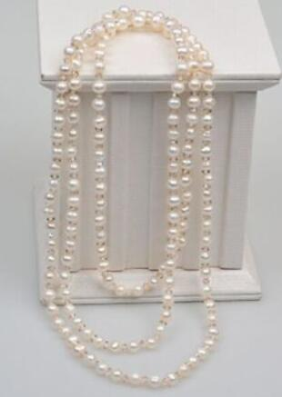Jewelry 7-8mm natural south seas white pearl necklace 48inch цена