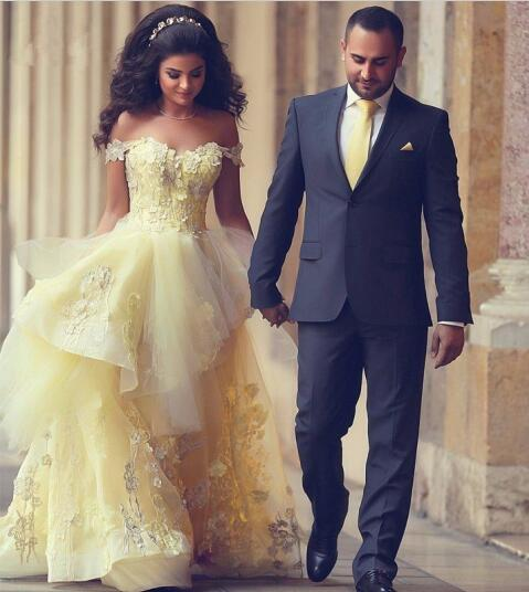 36d7df90b5 US $139.92 12% OFF|Romantic Saudi Arabia Ball Gown Prom Dress Dreamlike  Princess Yellow Prom Gowns Lace Applique Off Shoulder Formal Evening  Dress-in ...