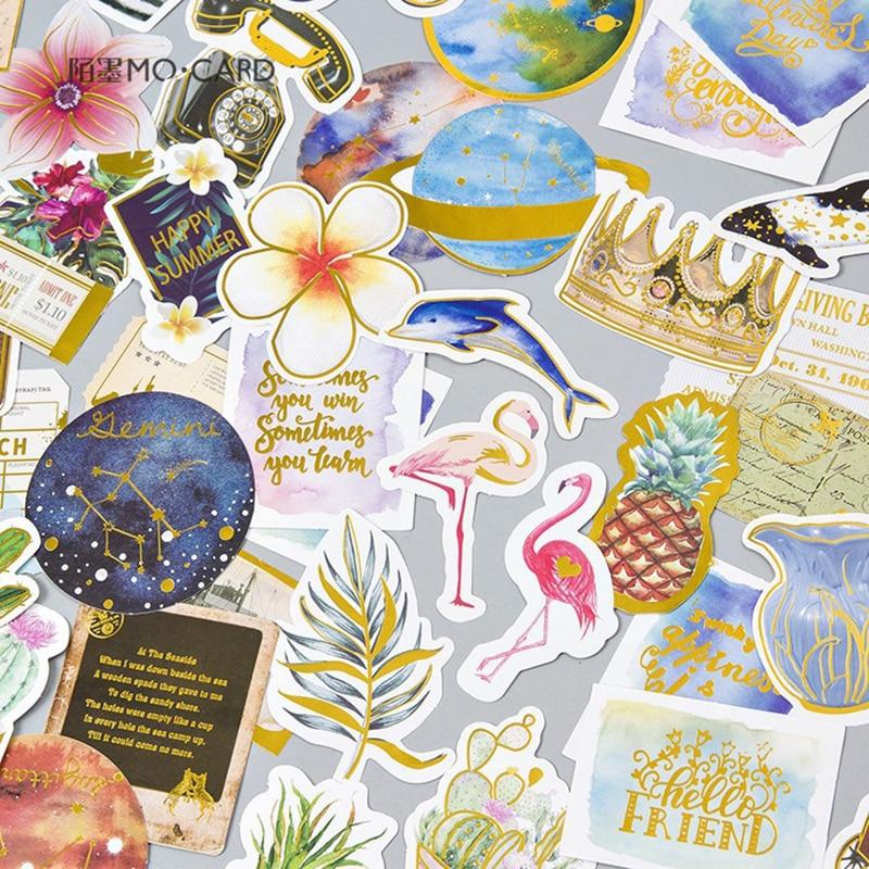 24pcs/Pack Luxury Vintage Star/Plant Gold Sticker Scrapbooking Creative Diy Journal Decorative Adhesive Label Sticker Supplies
