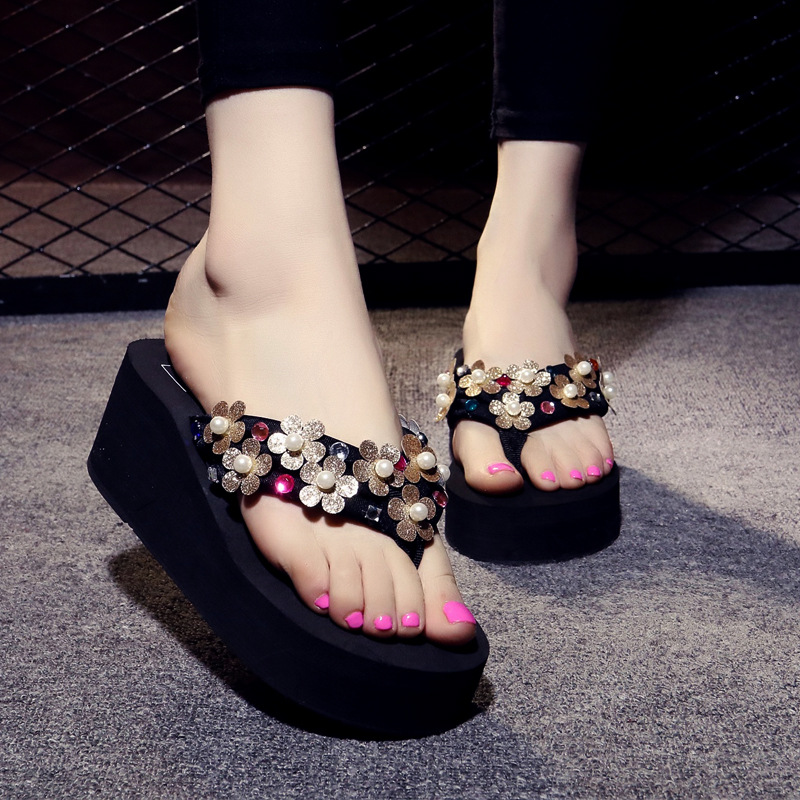 Drop Shipping Women Sandals Platform Women Slippers Rhinestone Woman Flats Flip Flops Shoes Summer Beach Sandals