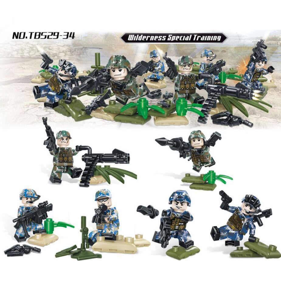 Modern military wilderness Special training camouflage uniform brickmania  minifigs block ww2 army navy figures gun bricks toys
