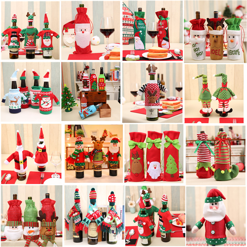 Christmas Decoration 2017 Santa Claus Wine Bottle Cover Gift Santa Sack Bottle Hold Bag  ...
