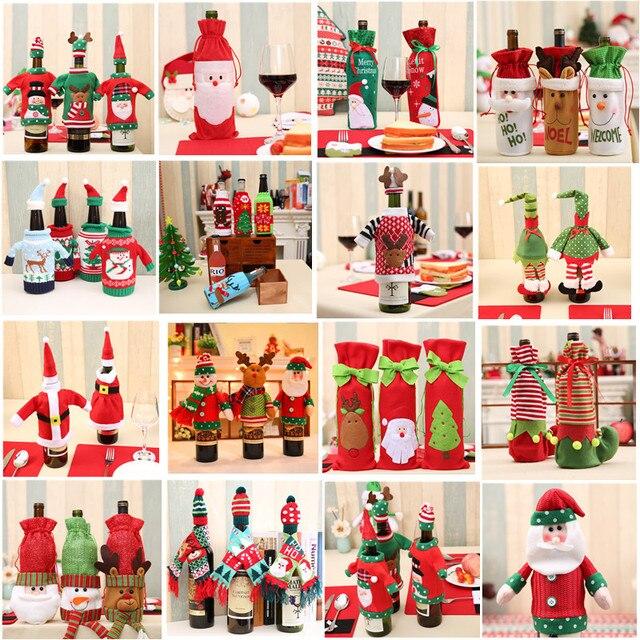 Weihnachten Dekoration 2018 Santa Claus Wein Flasche Abdeckung