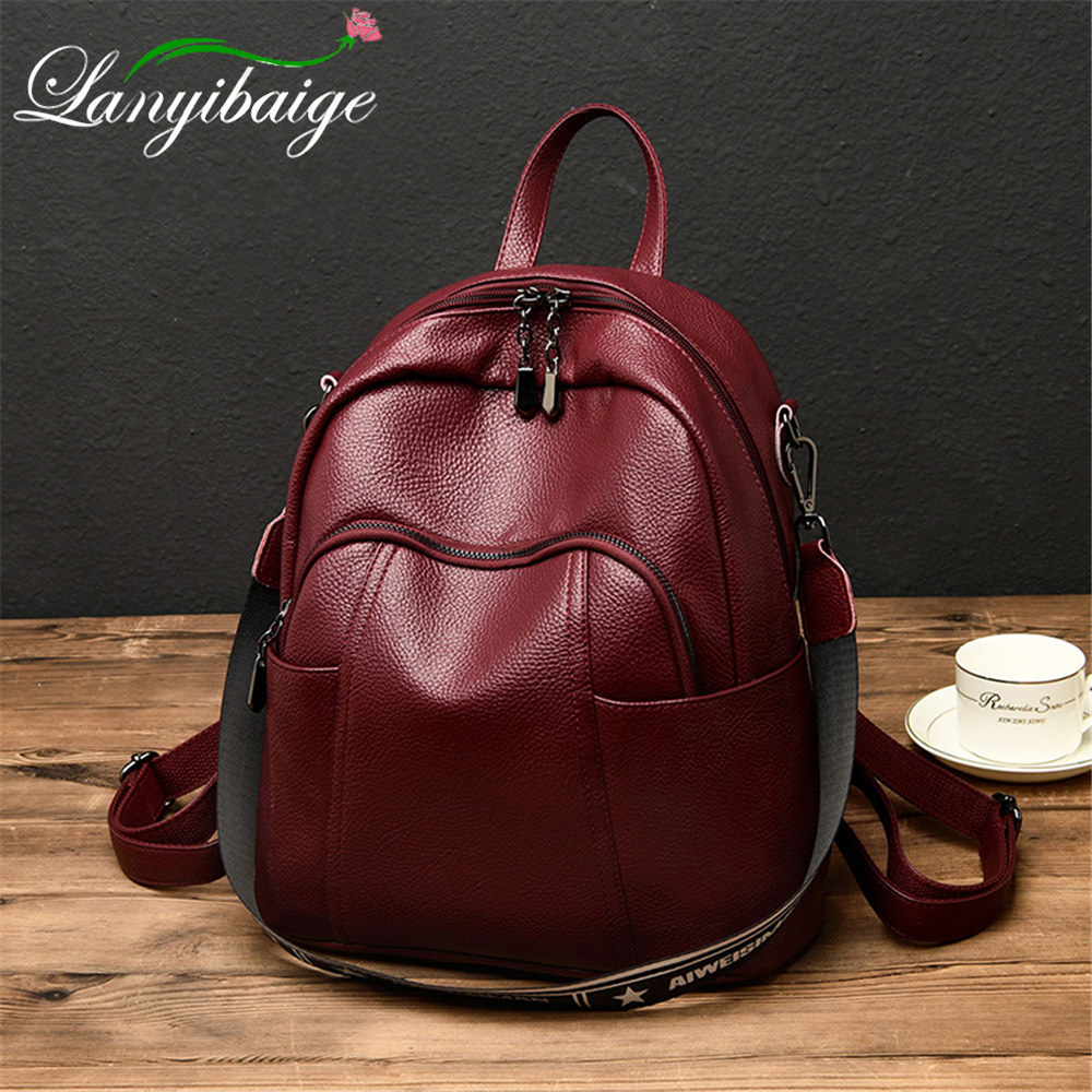 Multifunction Leather Backpack Women Retro Backpack 2019 New School Bag For Girls Mochila Sac A Main Fashion Travel Back Pack