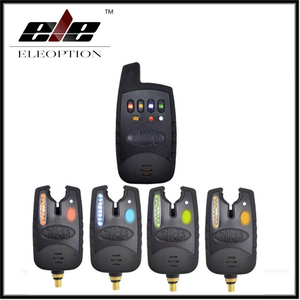 Eleoption Ensemble 4 pièces Sans Fil Alarme De Morsure De Pêche LED Alerte + Récepteur pour Carpe Attaquer