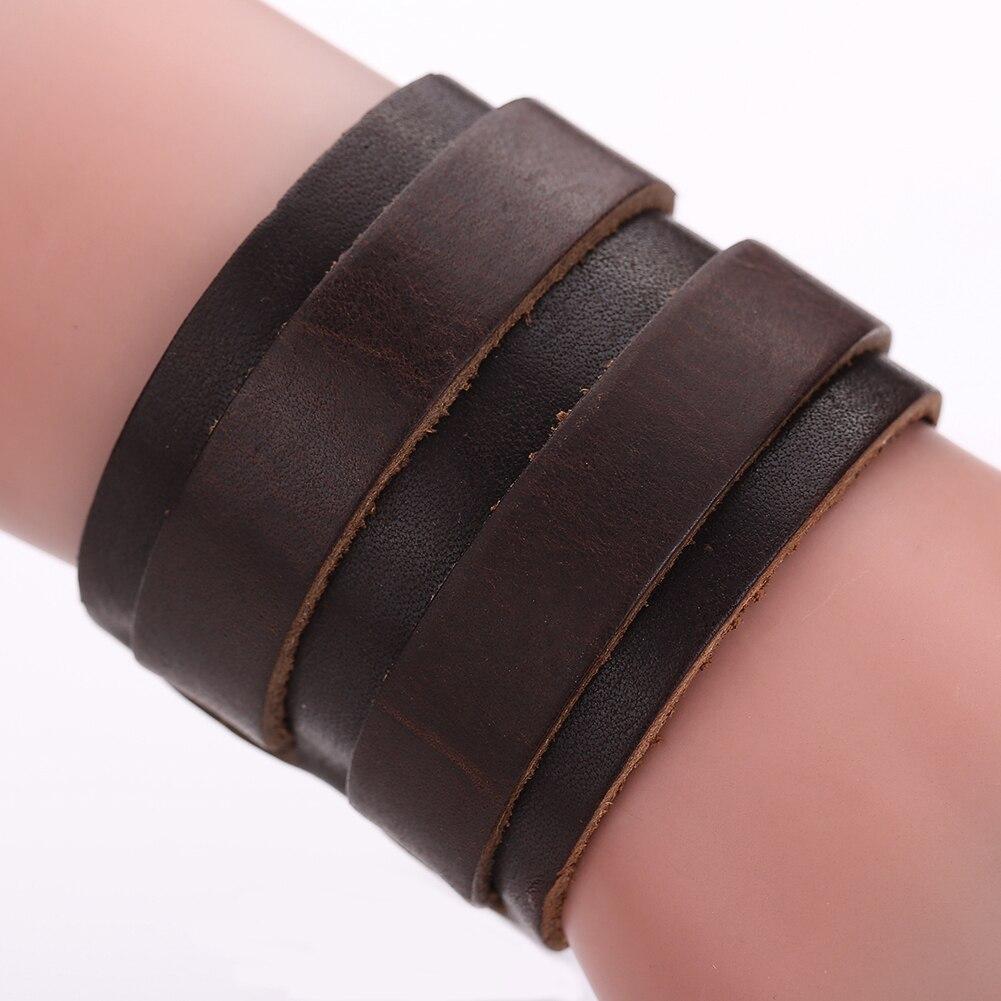 Модные для мужчин широкий кожаный браслет коричневый, черный широкий браслеты на запястье и браслеты Винтаж панк ювелирный подарок для мол...