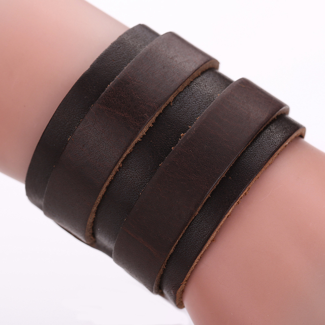 Fashion Men Wide Leather Bracelet Brown Black Cuff Bracelets Bangles Wristband Vintage Punk