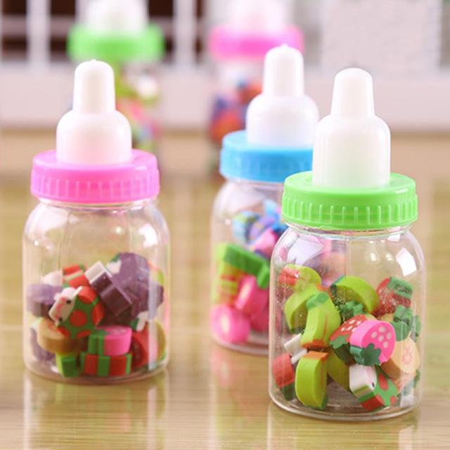 mini kawaii bottle rubber pencil erasers office stationery fruit number shaped eraser for students kids creative