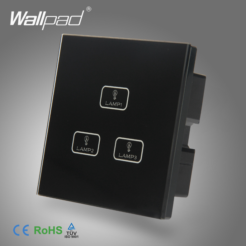 Smart Home 3 Gang Touch Best Quality Wallpad Black Tempered Glass Switch LED Ligh 3 Button Touch Screen Light Control Switch smart home us black 1 gang touch switch screen wireless remote control wall light touch switch control with crystal glass panel