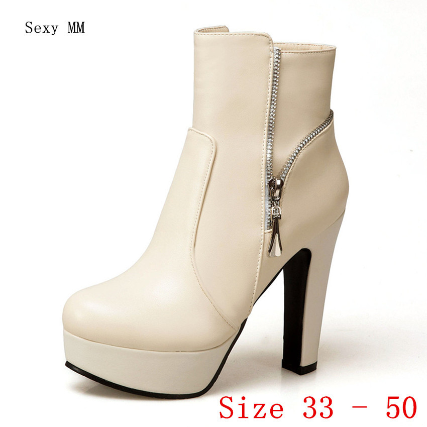 Spring Autumn High Heel Shoes Women Ankle Boots Platform Woman Short Boots Plus Size 33 34 - 40 41 42 43 44 45 46 47 48 49 50