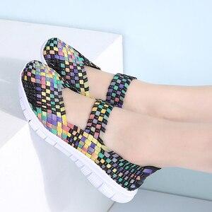 Image 5 - STQ zapatos planos tejidos para mujer, chanclas planas, multicolor, para verano, 2020