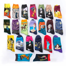 Starry Night Autumn Winter Womens Vintage Personality Art Van Gogh Mural Painting Famous Mens Oil Socks Happy Funny