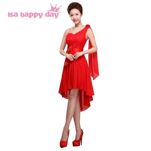 028b824929 corset high low elegant red one strap shoulder lace up back bridesmaid dress  bridemaids lace dresses sweetheart women xxxl H1360