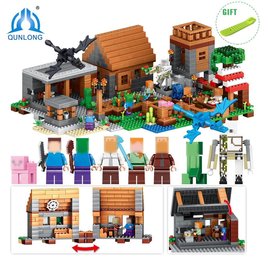 Qunlong Minecrafted Figures My World Building Blocks Bricks DIY Enlighten Gift Toys For Children Compatible Legos Minecraft City decool 3117 city creator 3 in 1 vacation getaways model building blocks enlighten diy figure toys for children compatible legoe