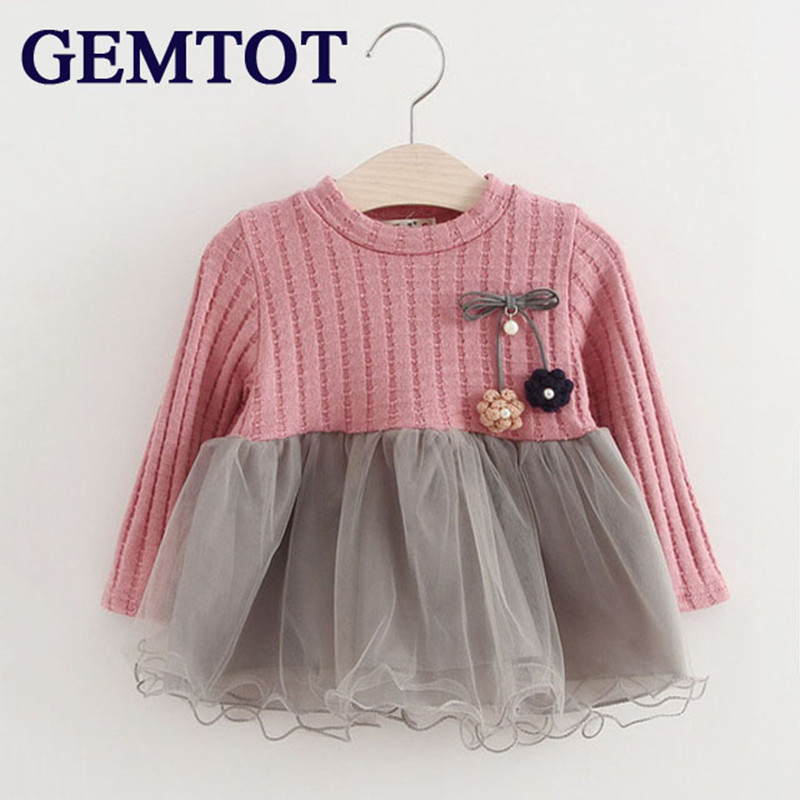 GEMTOT 2017 new Spring and Autumn long sleeve for girls Sweater Corsage yarn baby girls dress kids clothes Childrens clothing