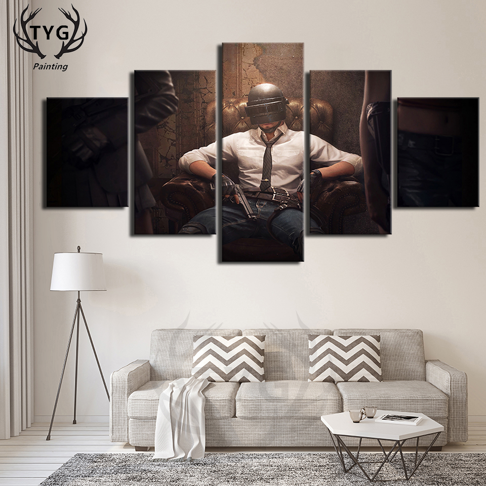 US $5 89 41% OFF|Hot PUBG Eat chicken Boyfriend Gift Games Posters Canvas  Paintings Pictures Bedroom Framework Decoration Paintings Popular TYG-in