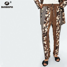 ROHOPO Women Patchwork Printed Straight Pant High Waist Vintage Runway Ladies Casual bottoms #BM2145a