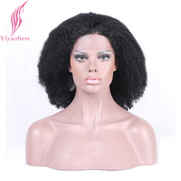 Yiyaobess Kinky Curly Lace Front Wigs Black Women Short Afro Wig Synthetic Hair Glueless High Temperature Fiber