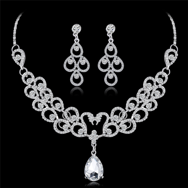 HwetR Women Prom Bridal Necklace Earrings Sets African Beads Jewelry Sets Crystal Leaf Wedding Jewelry Sets