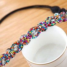 91b130d9434 Charming Vintage Bohemian Ethnic Turquoise Metal Beads Flower Crystal  Rhinestone Handmade Elastic Headband Hair Accessories(