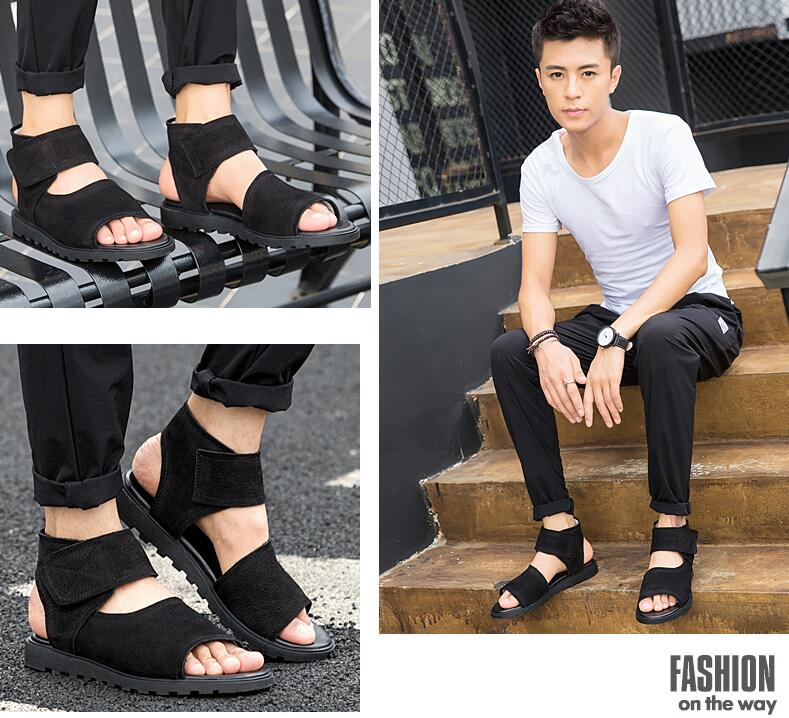 Summer fashion British style men sandals casual Rome shoes outdoor shoes for men flat leather sandals Summer fashion British style men sandals casual Rome shoes outdoor shoes for men flat leather sandals