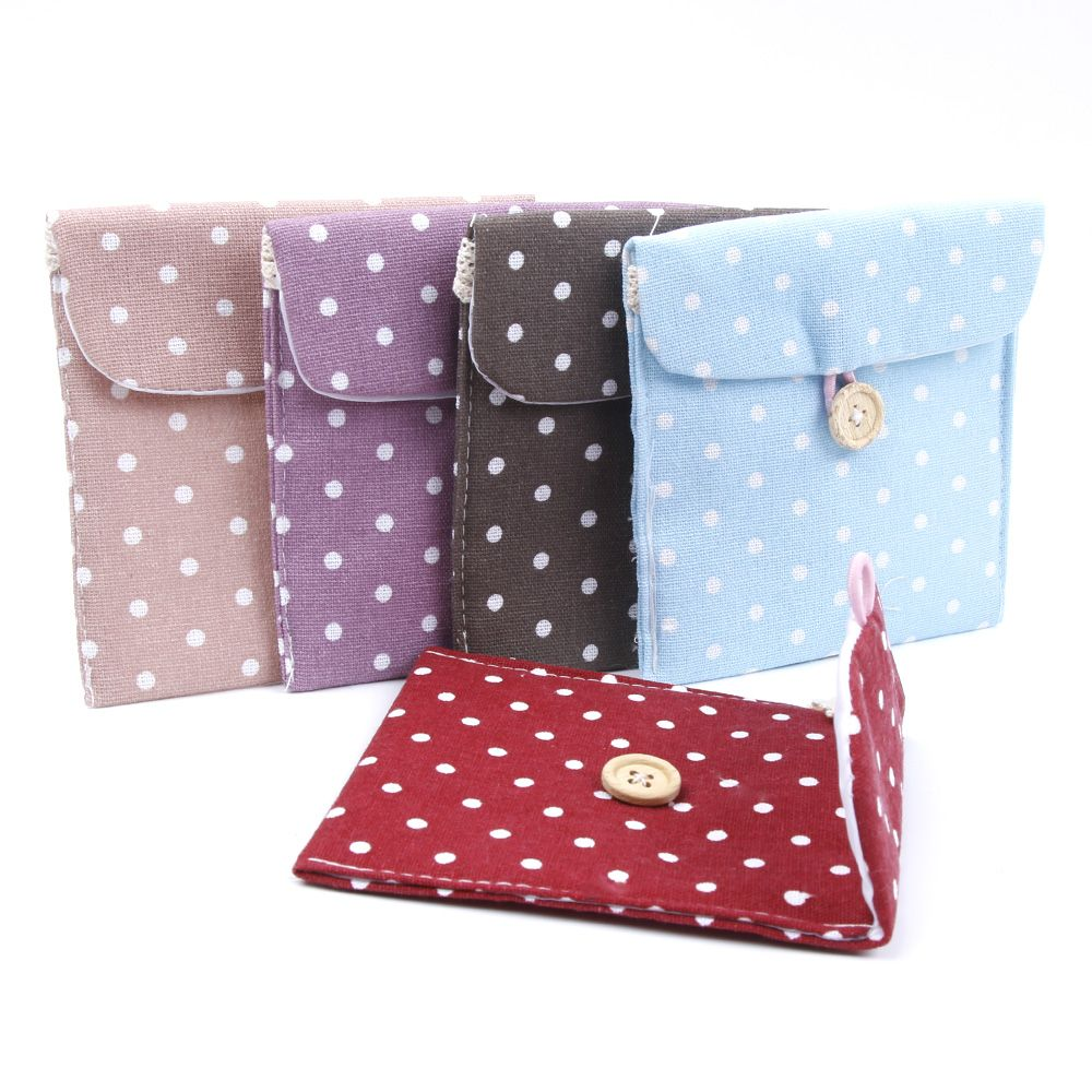 Women Portable Hygiene Sanitary Napkins Travel Tampon Bag Sanitary Napkin Pouch Pocket Cotton Fabric Lovely Dot Bag HOT