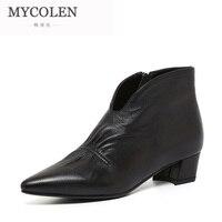 MYCOLEN 2018 Модные женские ботильоны Роскошные Дизайнерские квадратный каблук Для женщин сапоги удобные кожаные на молнии женские ботинки «Чел