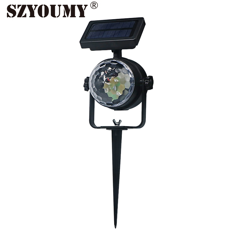 SZYOUMY Moving Head 5W LED Stage Light Solar Powered LED Crystal Ball Landscape Xmas Outside Decorative Light DHL Free Shipping