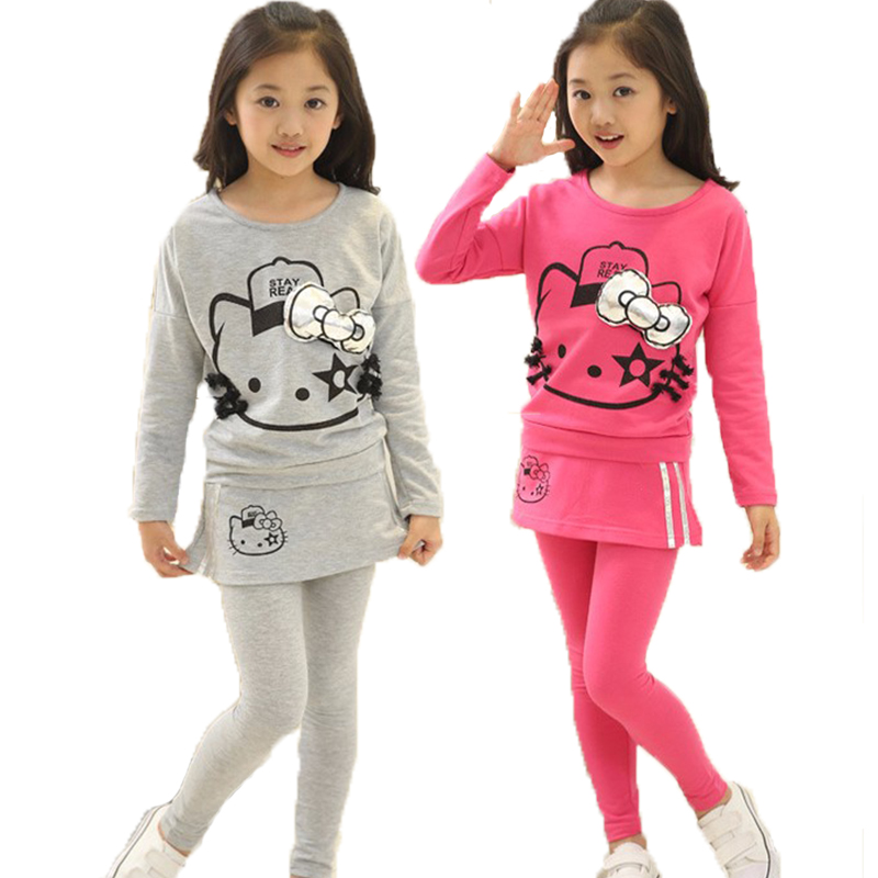 New Teenager Girls Hello Kitty Long Sleeve T Shirt Skirt Leggings Pants Clothes Set Baby Children Kids Christmas Clothing Set retail design children clothing set for kids girl dark blue cardigan t shirt pink skirt high quality 2014 new free shipping