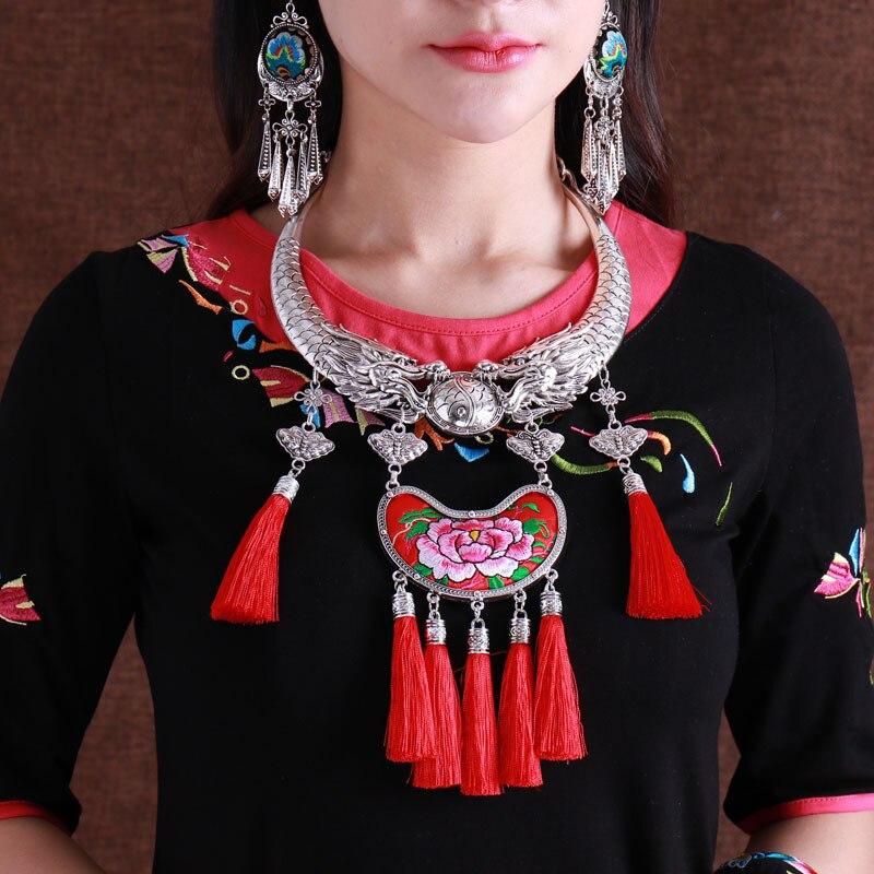 Miao ethnique vent rétro collier collier chandail chaîne pendentif Miao argent brodé fleur pivoine gland pendentif femme